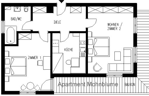Layout Apartment TYPE C Mohnblume