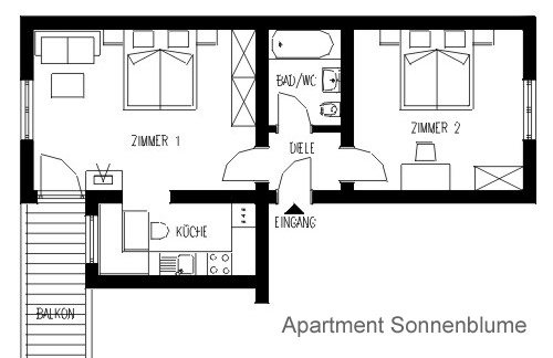 Layout Apartment TYPE B Sonnenblume